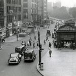 August 12 1942: The scene on Tremont street by Park Street Station just as a surprise air raid alert sounded. The test came without warning to both civilian defense personnel and public alike. This test was the first time that the warning of an impending air raid was by special signal on sirens and other audible alarms rather than telephone messages.